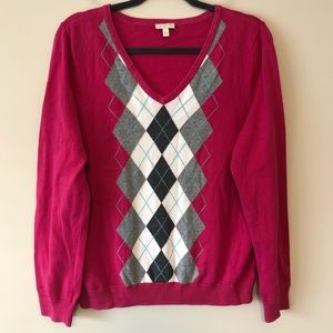 Talbots Pink Argyle Sweater